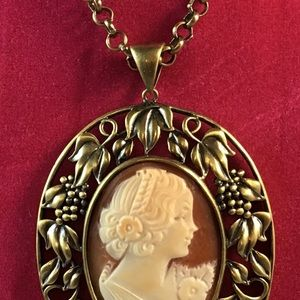 AMEDEO NYC 40mm FLORAL CAMEO Pendant Necklace